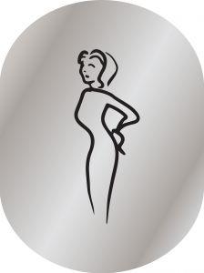 T719952 Plaque pictogramme aluminium satiné Toilettes Femme