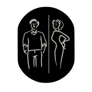 T719916 Plaque pictogramme aluminium noir Toilettes Homme et Femme