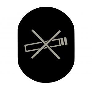 T709901 Placa pictograma aluminio negro Prohibido fumar