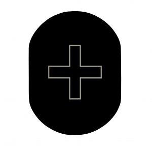 T719918 Plaque pictogramme aluminium noir Infirmerie