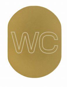 T709901 Placa pictograma aluminio dorado WC
