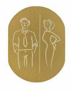 T719936 Plaque pictogramme aluminium doré Toilettes Homme et Femme