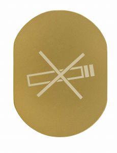 T709901 Placa pictograma aluminio dorado Prohibido fumar