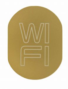 T719939 Plaque pictogramme aluminium doré WI FI