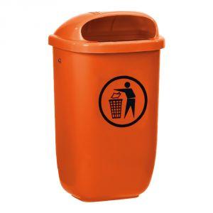 T102052 Corbeille en polyéthylène orange pour extérieur 50 litres