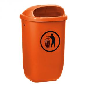 T102052 Orange Polyethylene Litter bin 50 liters for outdoor areas