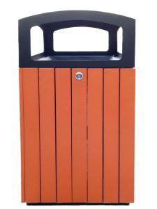 T110511 Poubelle carré extérieure acier noir/polystyrène 90 litres