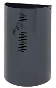 T778061 Corbeille à demi-lune en acier gris pour exterieure 40 litres