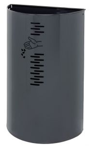T778061 Papelera semicircular acero gris para exteriores 40 litros