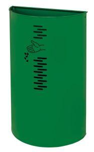 T778062 Papelera semicircular acero verde para exteriores 40 litros