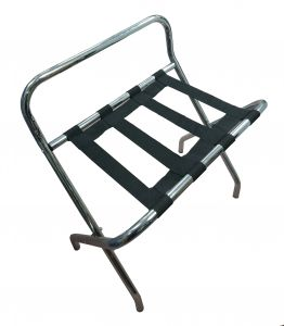 T107511 Porte bagages Pliage avec dosseret en métal chrome/nylon