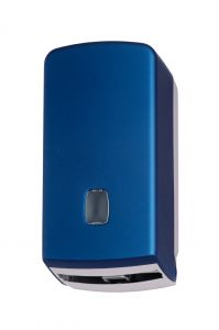 T104056STBL Interfold or roll toilet tissue dispenser abs blue soft touch