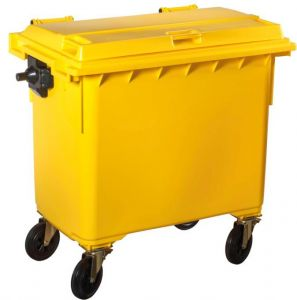T766651 Contenitore rifiuti da esterno 4 ruote 770 litri GIALLO