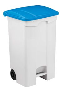 T115095 Contenitore mobile a pedale in plastica bianco coperchio blu 90 litri (confezione da 3 pezzi)