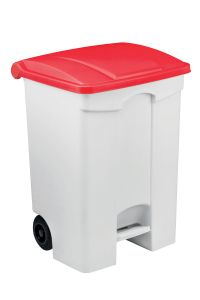 T115077 Mobile plastic pedal bin White 70 liters Red lid (Pack of 3 pieces)