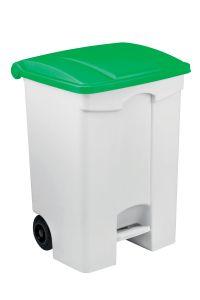 T115078 Contenitore mobile a pedale in plastica bianco coperchio verde 70 litri (multipli 3 pz)