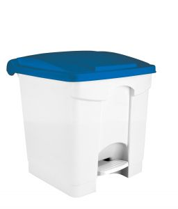 T115305 White Plastic pedal bin Blue lid 30 liters (Pack of 3 pieces)