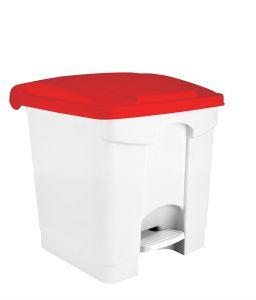 T115307 Pattumiera a pedale in plastica Bianca coperchio Rosso 30 litri (confezione da 3 pezzi)