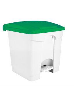 T115308 Pattumiera a pedale in plastica Bianca coperchio Verde 30 litri (multipli 3 pz)