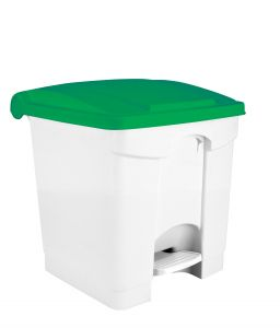 T115308 White Plastic pedal bin Green lid 30 liters (Pack of 3 pieces)