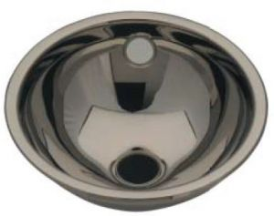 LX1000 Lavabo esférico de acero inoxidable, desagüe central 205x235x115 mm - LUCIDO -