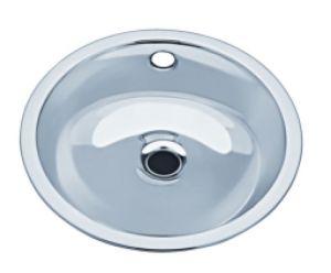 LX1130 Circular washbasin decentralized waste stainless steel 290x330x143 mm- SATIN -