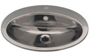 LX1250 Lavabo ovale con foro rubinetto in acciaio inox 530x450x160 mm -LUCIDO-