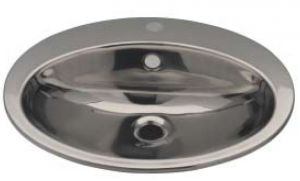 LX1260 Oval washbasin with tap hole in stainless steel 530x450x160 mm -SATINATO -