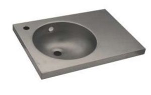 LX1580 Washbasin with stainless steel top 700X350X125 mm - SATIN -