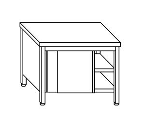 TA4075 Tavolo armadio in acciaio inox con porte su un lato 120x70x85