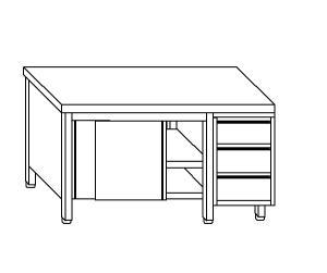 TA4086 Tavolo armadio in acciaio inox con porte su un lato e cassettiera DX 160x70x85
