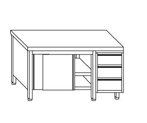 TA4090 cupboard with stainless steel doors on one side and drawers DX
