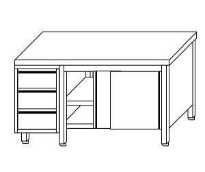 TA4102 armoire avec des portes en acier inoxydable d'un côté et les tiroirs SX
