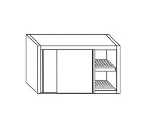 PE7052 Cabinet with sliding doors in stainless steel drainer with L = 200cm