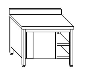 TA4116 Tavolo armadio in acciaio inox con porte su un lato con alzatina 180x70x85