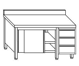 TA4120 Tavolo armadio in acciaio inox con porte su un lato, alzatina e cassettiera DX 150x70x85