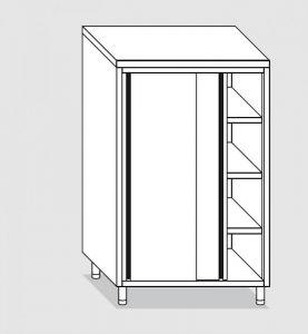 34304.13 Armadio verticale past cm 130x70x160h porte scorrevoli - 3 ripiani interni regolabili