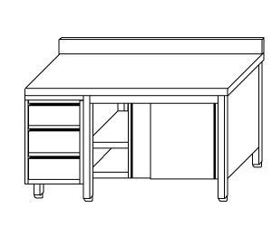 TA4136 Tavolo armadio in acciaio inox con porte su un lato, alzatina e cassettiera SX 200x70x85