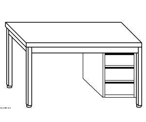 TL5022 Tavolo da lavoro in acciaio inox AISI 304 cassettiera dx 100x60x85