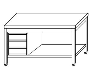 TL5089 Tavolo da lavoro in acciaio inox AISI 304 cassettiera sx ripiano 130x60x85
