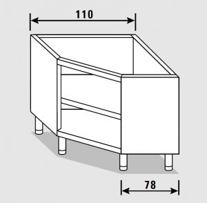 33153.11 Componibile armadio ad angolo a giorno past cm 110x80x81h