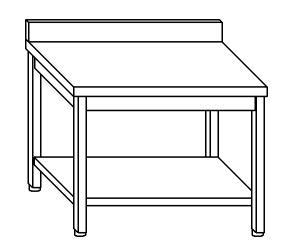 TL5146 Tavolo da lavoro in acciaio inox AISI 304 alzatina ripiano 60x60x85