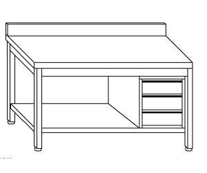 TL5166 Tavolo da lavoro in acciaio inox AISI 304 cassettiera dx alzatina ripiano 100x60x85