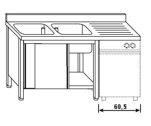 LT1192 Lavatoio su armadio per lavastoviglie 2 vasche 1 sgocciolatoio dx alzatina 200x70x85