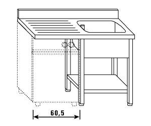 LT1199 Lavatoio su gambe e ripiano per lavastoviglie 1 vasca 1 sgocciolatoio sx alzatina ripiano 140x60x85